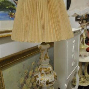 "So Ugly, It's Cool! Vintage Lamp White Glass, Gold Floral Design, 34.5""H."