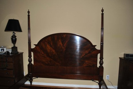 Finest King Size Flaming Mahogany Federal Style Poster Bed, Kingsize, $8000 Retail