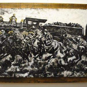 Midnight Western Train Robbery Original Painting by Darenthia Grayson