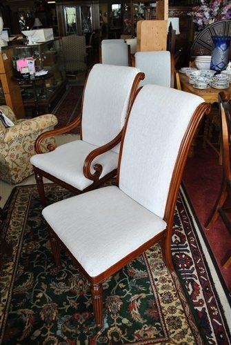 "Floor Sample, Set of 8 Leighton Hall ""Regency"" Mahogany Fine Dining Chairs"