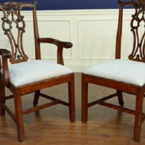 "Floor Sample, Set of 8 Leighton Hall Chippendale Style ""James"" Mahogany Fine Dining Chairs"