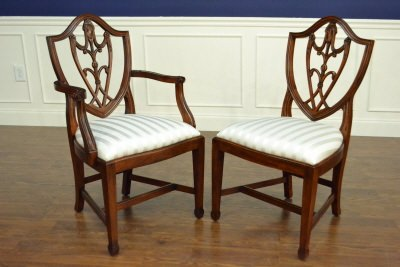 "Floor Sample, Set of 8 Leighton Hall Sheraton ""Shield Back"" Mahogany Fine Dining Chairs"