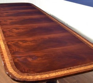 Floor Sample American Large Flaming Mahogany Conference Table, 12ft. Clipped, Scalloped, Retail $12,000