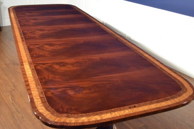 Floor Sample American Large Flaming Mahogany Conference Table, 12ft.  Clipped, Scalloped, Retail