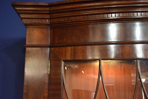 """Floor Sample, Flaming Bow Front China Cabinet, 2 Door, 88""""H, Retail $12000"""