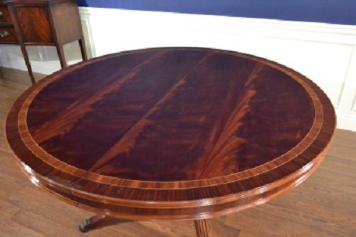 "Floor Sample, Leighton Hall Round Mahogany Dining Table, 60""Diameter, Retail $6,000"