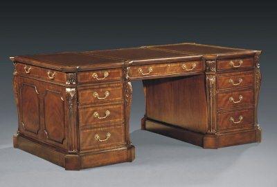 Floor Sample, Leighton Hall Partners Desk, Mahogany, 45″D x 73″ - Leighton Hall Partners Desk, Mahogany, Retails $9500