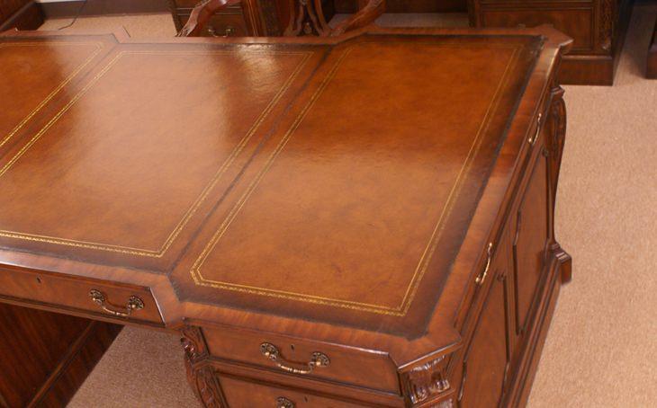 "Floor Sample, Leighton Hall Partners Desk, Mahogany, 45""D x 73""W x 30""H, Retails $9500"