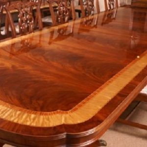 American Large Flaming Mahogany Banquet Dining Table 13 + Ft Long