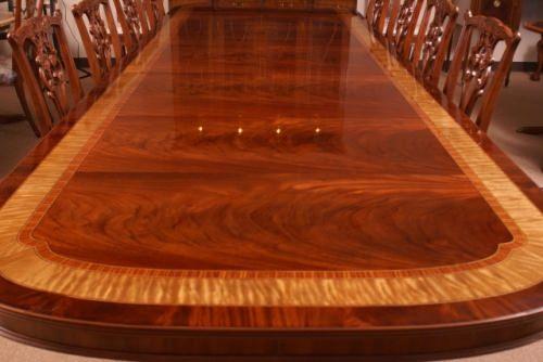 American Large Flaming Mahogany Banquet Dining Table 13 + Ft Long