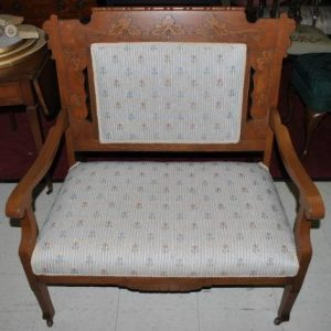 Beautiful Small Antique Victorian Carved Oak Upholstered Settee Bench