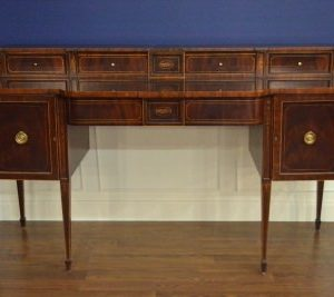 "Floor Sample Leighton Hall Sheraton Federal Style Mahogany Sideboard, 74""W,  Retail $6500"