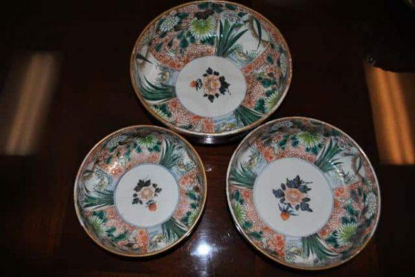 3 - Antique Japanese Nesting Bowls, Graduated Sizes, Circa 1890