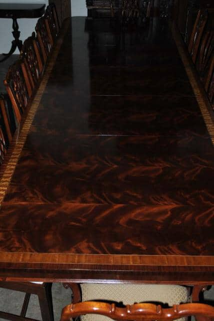 American Made Flaming Mahogany Dining Table, Over 13 ft. Long $15000 Retail