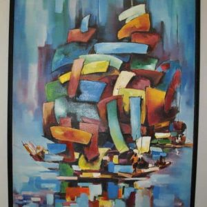 """Original Landscape Oil Painting """"Lost Ships"""" by Thoi Huynh, Canvas Framed  27"""" x 39.5"""""""