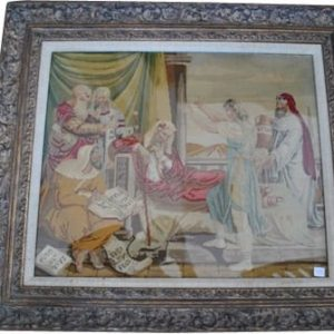 "Antique Religious Needlepoint ""David in Court of Saul"" Circa 1800, 21"" x 25"""