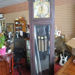 "Antique Herschede Grandfather Clock, Moon Phase, 5 Tube, Mahogany, Serial No. 95559, 94""H, Circa 1920"