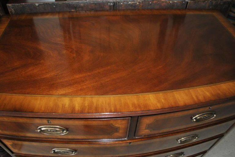 "Floor Sample Leighton Hall Flaming Mahogany Bow Front Chest of Drawers, Early American, Federal Style, 21""D X 39""W X 39""H, Retail $4,000"