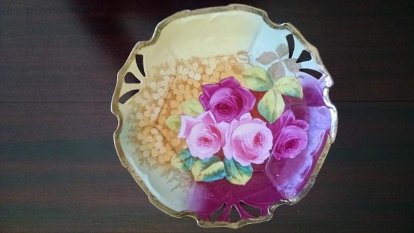 Lovely Newport Belle, Hand Painted Decorative Plate, Floral, Yellow, Pink, Gold, 11""