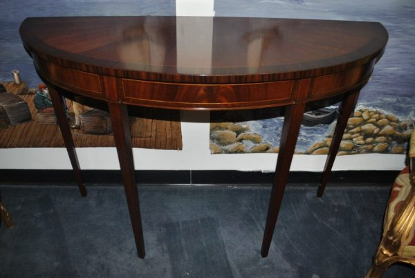 "Floor Sample, Leighton Hall, Demilune Console Table, Hepplewhite, Mahogany, 18""D x 50""W x 34.5""H, Retails $1800"