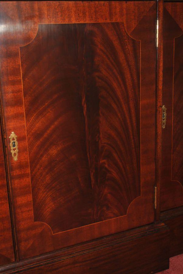 "Floor Sample Leighton Hall, Flaming Mahogany, 4 Door Break Front China Cabinet, 86""H , Retail $11,000"