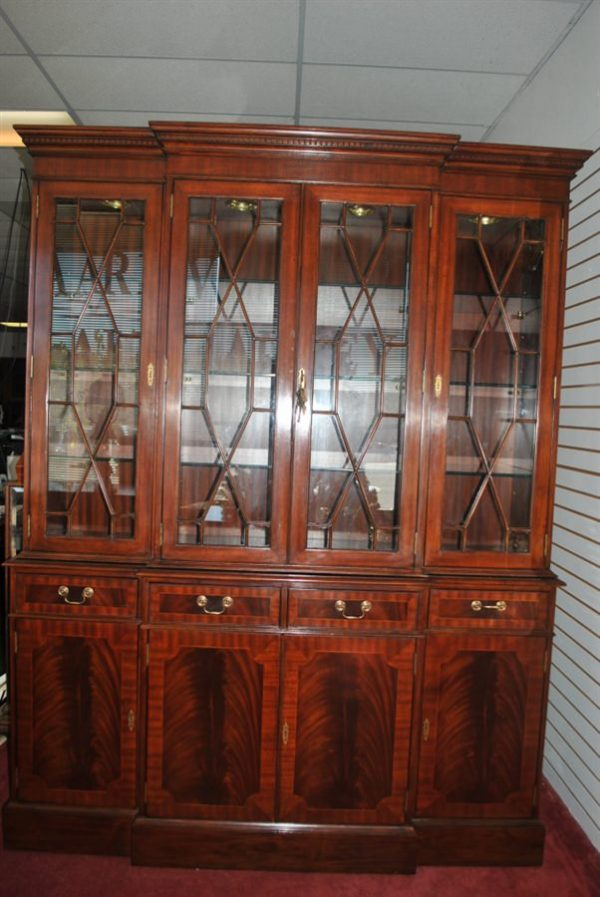 "Floor Sample Leighton Hall, Flaming Mahogany, 4 Door Break Front China Cabinet, 86""H , Retail $11,000"
