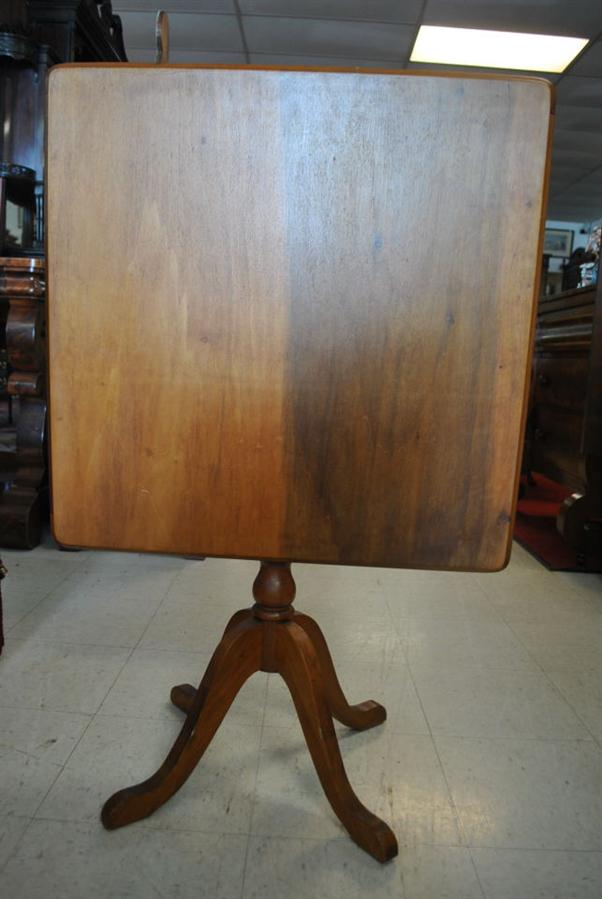 Solid Wood Square Tilt Top Table Circa 1900