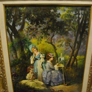 """Original Oil on Canvas by Frederich Reichenthal Victorian Girls  24"""" x 30"""""""