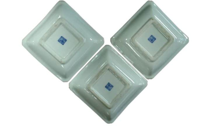 Antique Set of 3 Small Asian Trinket Dishes, Fine Japanese Porcelain