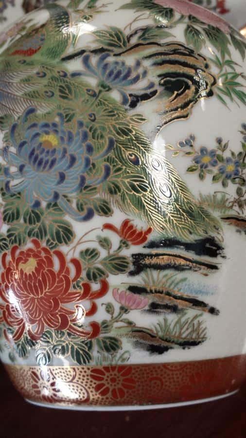 8 Piece Set Antique Fine Japanese Porcelain Ginger Jar Set