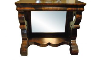 "Antique Berkey & Gay Pier, American Empire, Flaming Mahogany Table, Console, Circa 1850, 41""W x 36""H"