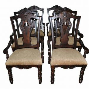 6 Heavy Duty Dining Chairs, Armchairs, Carved Dark Mahogany, Castle Style, $4200 MSRP