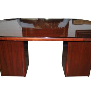 Business Office Mahogany, Glass Top, Oval Pedestal Center Table, Desk, Credenza