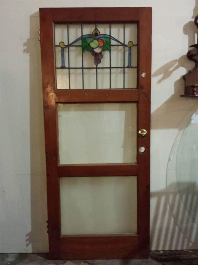 Antique stained glass door solid pine 32 5 x 77 5 for Vintage solid wood doors