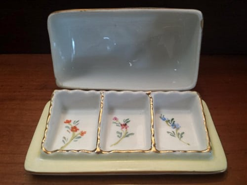 "Limoges China Stamp Box With Lid, Yellow Floral, 4.5""W x 3""H"