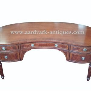 "Floor Sample, Leighton Hall Kidney Shape Writing Desk, Mahogany Desk, Vanity, 34""D x 66""W x 30""H, Retails $5000"