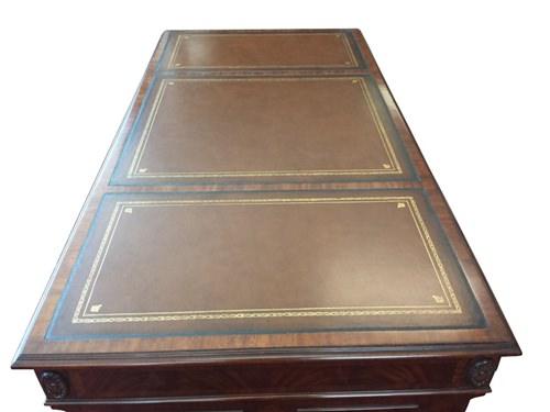 "Floor Sample, Leighton Hall Executive Desk, Mahogany, Leather Inlay, 36""D x 72""W x 30""H, Retail $7500"