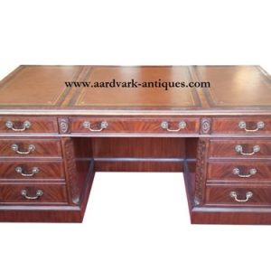 "Floor Sample Leighton Hall CEO Executive Desk, Mahogany, Leather Inlay, 42""D x 84""W x 30""H, Retail $12,000"
