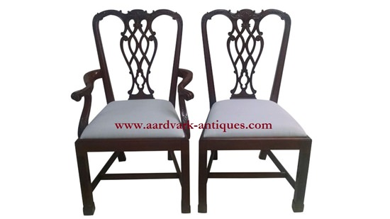 "Floor Sample, Set of 8 Leighton Hall Chippendale Style ""Marlborough"" Mahogany Fine Dining Chairs"