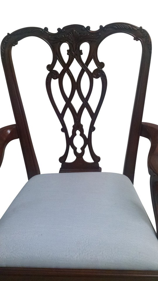 "Floor Sample, Leighton Hall Chippendale Style ""Marlborough"" Mahogany Fine Dining Armchair"