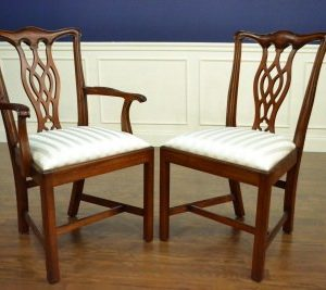 "Floor Sample, Set of 8 Leighton Hall Chippendale Style ""Charles"" Mahogany Fine Dining Chairs"