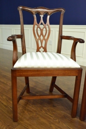"""Floor Sample, Set of 8 Leighton Hall Chippendale Style """"Charles"""" Mahogany Fine Dining Chairs"""