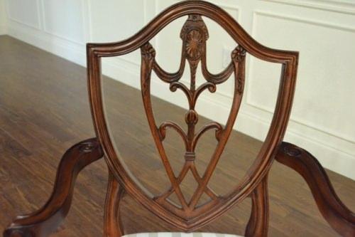 "Floor Sample, Set of 8 Leighton Hall Sheraton ""Shield Back"" Mahogany Fine Dining Chairs"