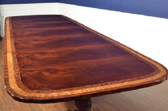Floor Sample American Large Flaming Mahogany Dining Table, 10ft. Clipped, Scalloped, Retail $10,000