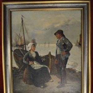 "Antique Original Oil Painting by Johann Baptist Zwecker (1814 - 1876) European, Shipyard, 20"" x 24"""