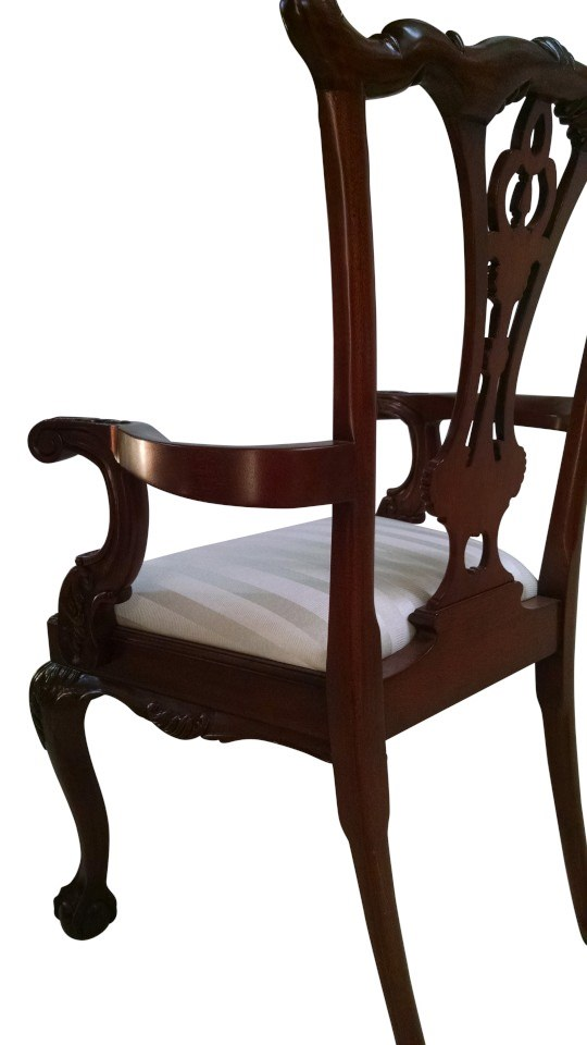"Floor Sample, Set of 8 Leighton Hall Ball & Claw Chippendale Style ""18th Century"" Mahogany Fine Dining Chairs"