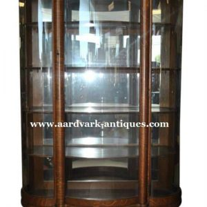 "Antique Golden Oak Era Bow Front Curio China Cabinet, 72""H, Ca 1890"