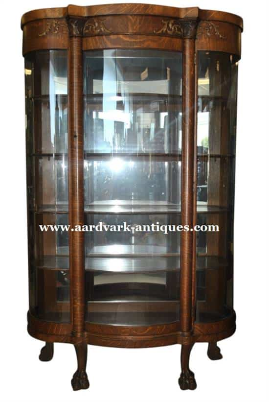 Antique Golden Oak Era Bow Front Curio China Cabinet, 72u2033H, ...