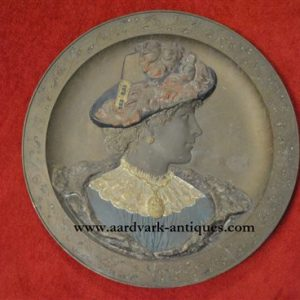 "Antique Bronze Relief, Sculpture Victorian Lady, 23.5""Dia, Ca 1890s"