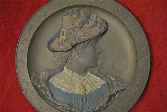 "Antique Bronze Relief, Sculpture Victorian Lady, 23.5""Dia, Ca 1890s"